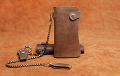 Handmade Genuine Leather Biker Wallet Mens Cool Chain Wallet Trucker Wallet with Chain