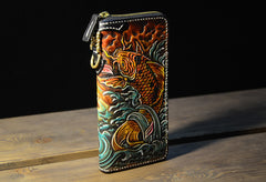 Handmade Leather Carp Mens Chain Biker Wallet Cool Leather Wallet Long Phone Wallets for Men