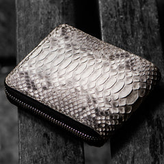 Handmade Leather Boa Skin Tooled Mens Short Wallet Cool Slim Wallet Biker Wallet for Men