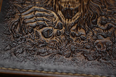Handmade Leather Tooled Death Metal Mens Short Wallet Cool Leather Wallet Slim Wallet for Men