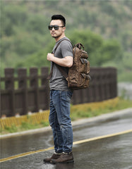 Oil Wax Canvas Mens Cool Backpack Sling Bag Large Sport Bag Travel Bag Hiking Bag for men