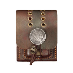 Cool Mens Leather Indian CIGARETTE HOLDER CASE WITH Zippo LIGHTER HOLDER FOR MEN