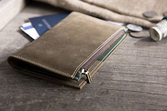 Handmade Leather Mens Travel Wallet Passport Leather Wallet billfold Long Wallets for Men