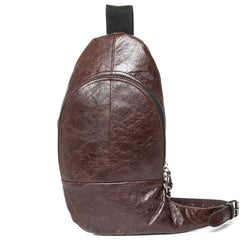 Cool Brown Leather Mens  Sling Bags Brown Crossbody Pack Chest Bag for men