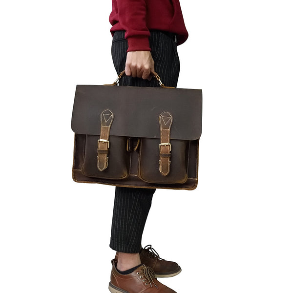 COOL LEATHER MENS Large BRIEFCASE BUSINESS BRIEFCASE VINTAGE SHOULDER BAG HANDBAGS FOR MEN