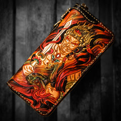 Handmade Leather Acalanatha Mens Chain Biker Wallet Cool Leather Wallet With Chain Wallets for Men