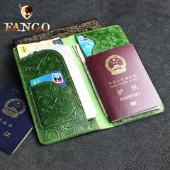 Handmade Leather Floral Mens Cool Travel Long Wallet Passport Card Holder Card Slim Wallets for Men