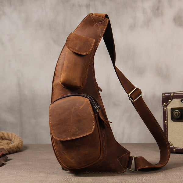 Hanmade Genuine Leather Vintage Brown Coffee Mens Cool Sling Bag Crossbody Bag Chest Bag for men