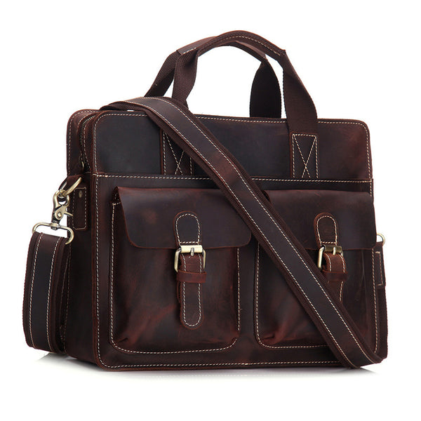Vintage Mens Leather Briefcase Business Handbag Shoulder Bags For Men