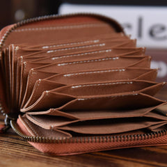 Handmade Mens Cool billfold Leather Wallet Men Small Card Wallets Zipper for Men