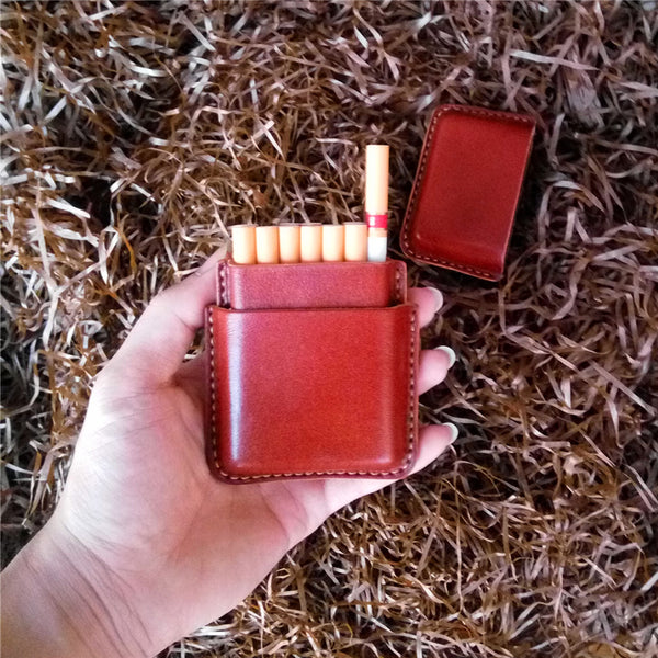 Leather Mens 14pcs Cigarette Holder Case Cool Custom Cigarette Case for Men