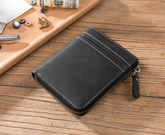 Handmade Leather Mens Cool Slim Leather Zipper Wallet Men Small Wallets Bifold for Men