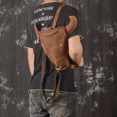 Handmade Leather Mens Cool XO Bull Backpack Sling Bag Black Travel Bag Hiking Bag for men