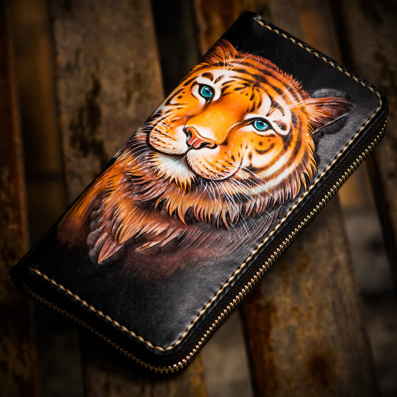 Handmade Leather Men Tooled Tiger Cool Leather Wallet Long Phone Clutch Wallets for Men