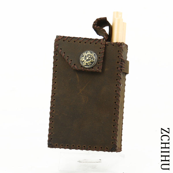 Cool Handmade Leather Mens Vintage Coffee Cigarette Holder Case for Men