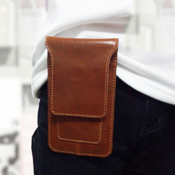 Cool Slim Mens Leather Cell Phone Holsters Belt Pouch Waist Bag for Men