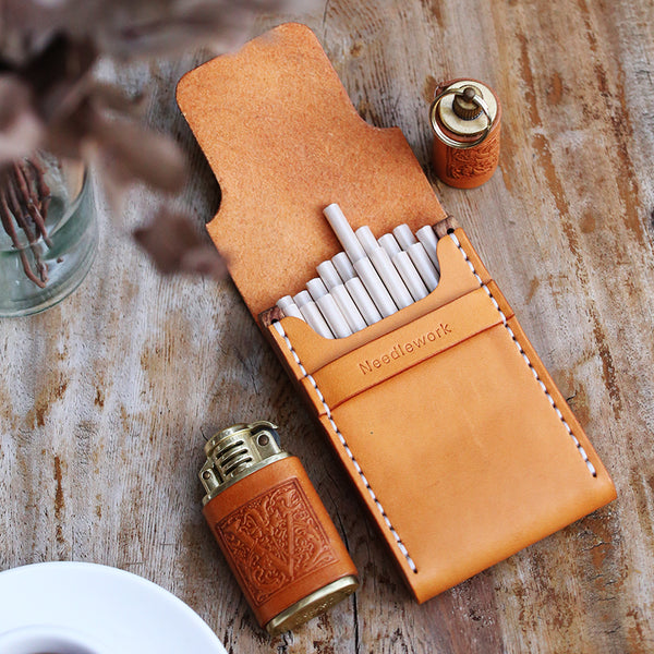 Wooden Beige Leather Womens 20pcs Cigarette Case Custom Cigarette Holder for Women