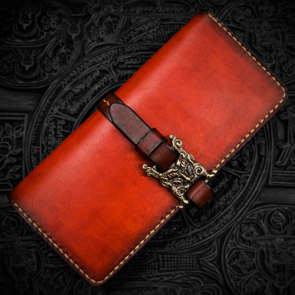 Handmade Leather Men Tooled Cool Leather Wallet Long Phone Wallets for Men