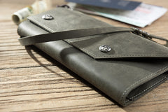 Handmade Leather Mens Cool Long  Chain Wallet Phone Biker Trucker Wristlet Wallet