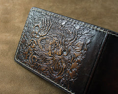 Handmade Leather Tooled Death Metal Deathcore License Wallet Mens Card Short Wallet Cool Leather Wallet Slim Wallet for Men