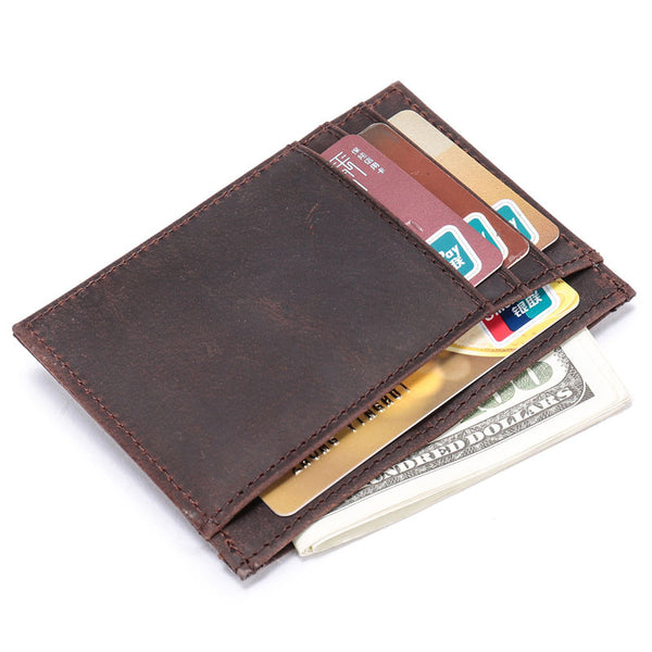 Handmade Leather Mens Cool Slim Leather Wallet Card Wallet Holders Men Front Pocket Wallet for Me