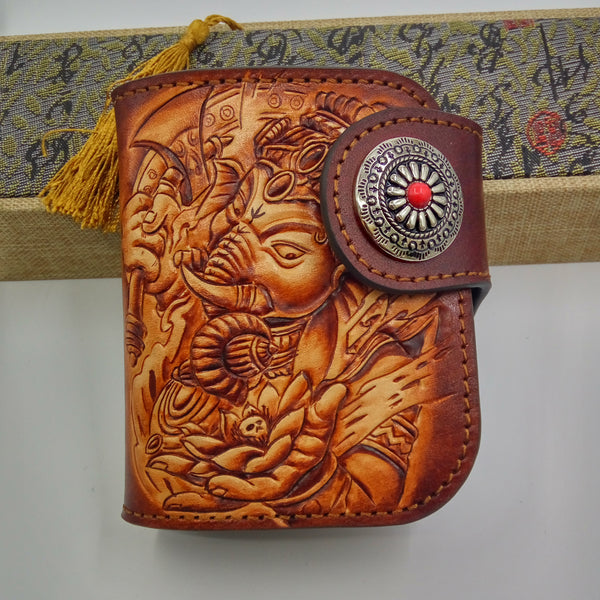 Handmade Leather Tooled Ganesha Mens Chain Biker Wallet Cool Leather Wallet Small Wallets for Men