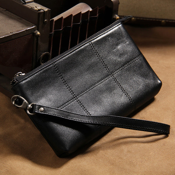 Cool Leather Mens Clutch Wristlet Bag Black Zipper Clutch for Men