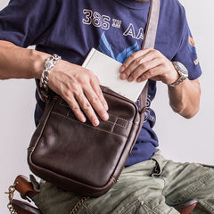 Genuine Leather Mens Cool Messenger Bag Sling Bag Chest Bag Bike Bag Cycling Bag for men