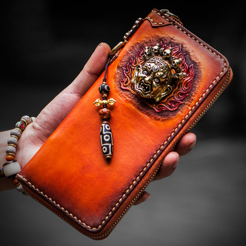 Handmade Leather Tooled Tibetan Mens Chain Biker Wallet Cool Leather Wallet Long Clutch Wallets for Men