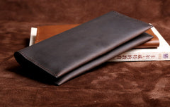 Handmade Leather Mens Cool Long Leather Wallet Clutch Wristlet Wallet for Men