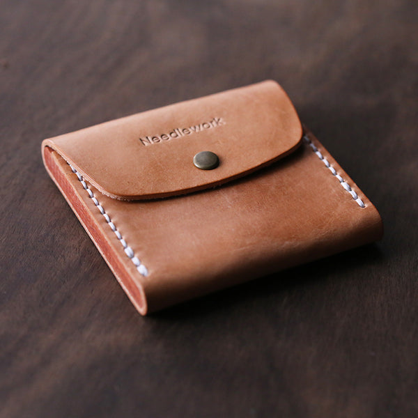 Cool Beige Wooden Leather Mens Wallet Small Card Holder Coin Wallet for Men