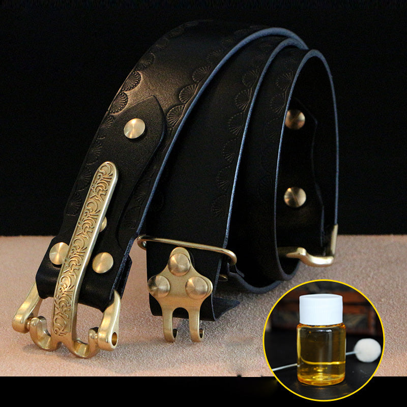 Handmade Genuine Leather Belt Cavalryman Custom Mens Leather Men Biker Belt