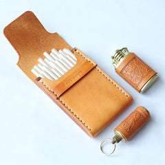 Cool Wooden Beige Leather Womens 20pcs Cigarette Case Custom Cigarette Holder for Women