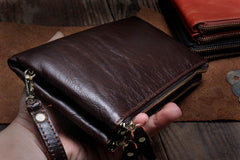 Handmade Leather Mens Cool Long Leather Wallet Slim Zipper Clutch Wristlet Wallet for Men
