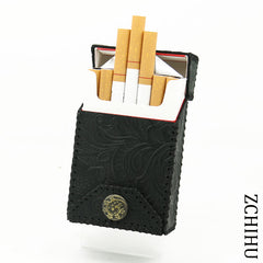 Handmade Cool Leather Mens Black Engraved Cigarette Holder Case Cigarette Holder for Men