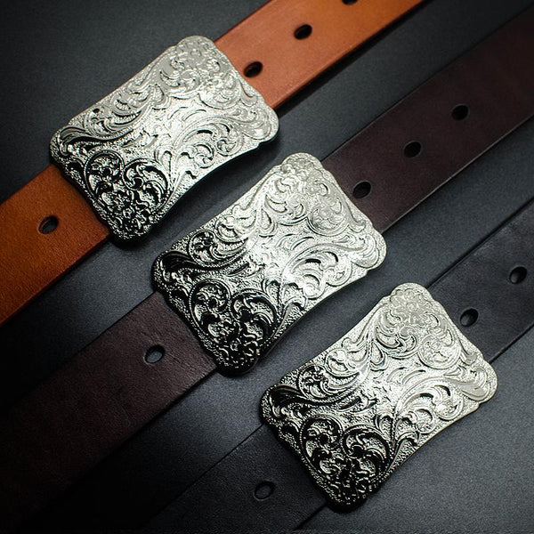 Handmade Leather Genuine Chinese Floral Mens Cool Men Biker Trucker Leather Belt