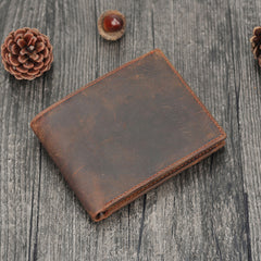 Handmade Leather Mens Cool Slim Leather Wallet Card Wallet Holders Men Small Wallets Trifold for Men