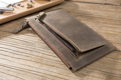 Handmade Leather Mens Clutch Wallet Cool Leather Wallet Zipper Phone Wallets for Men