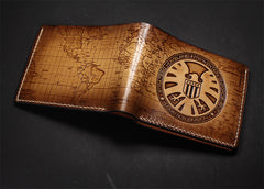 Handmade Leather Tooled Agents of S.H.I.E.L.D. Mens billfold Wallet Cool Leather Wallet Slim Wallet for Men
