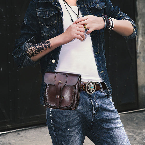 Cool Leather Mens large Biker Belt Pouch Waist Bag Side Bag Shoulder Bag for Men