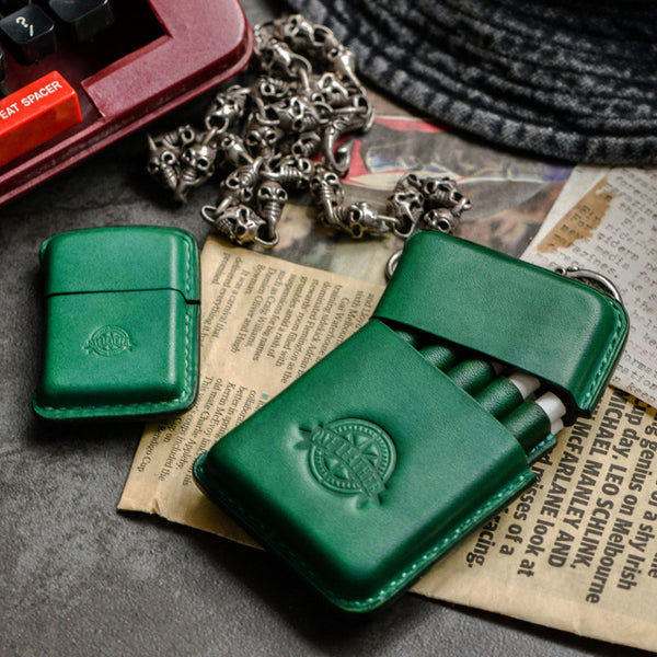 Handmade Green Leather Mens 10pcs Cigarette Holder Case Cool Custom Cigarette Case for Men
