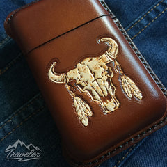 Brown Leather Mens Engraved Skull Cigarette Holder Case Vintage Custom Cigarette Case for Men