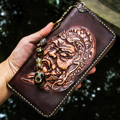 Handmade Leather Acalanatha Mens Chain Biker Wallet Cool Leather Wallet Long Clutch Wallets for Men