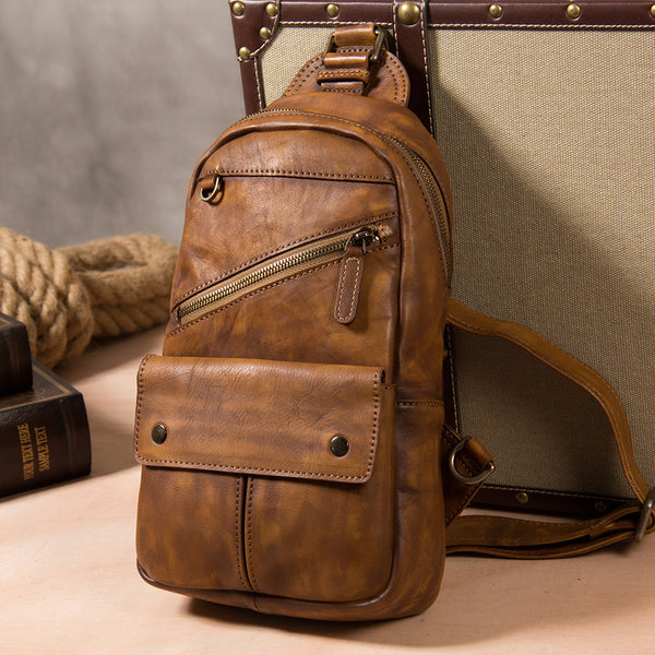 Leather Mens Cool Sling Bag Brown Crossbody Bag Chest Bag for men