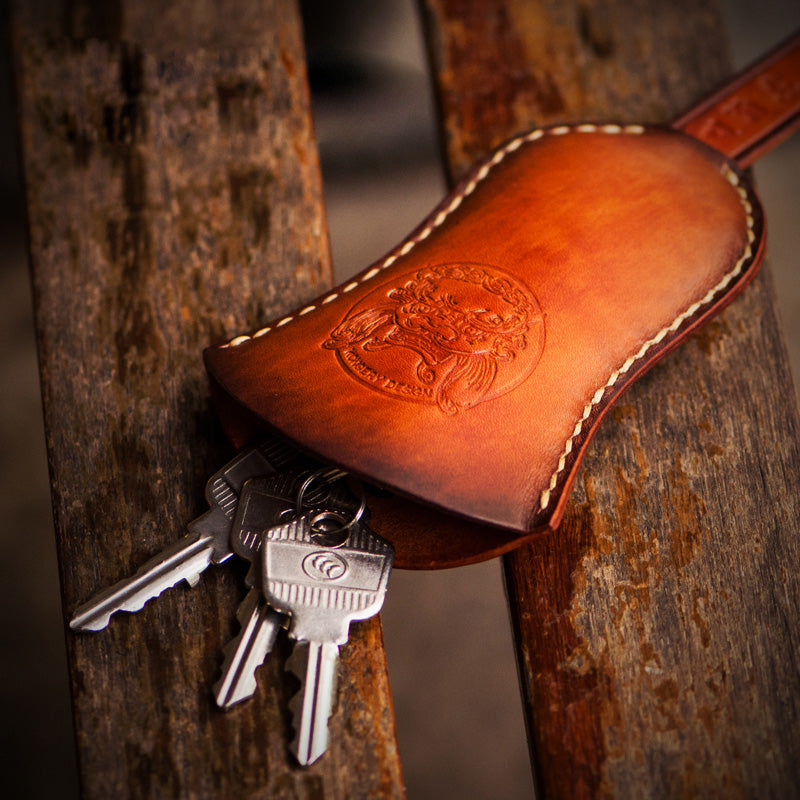 Handmade Leather Mens Cool Car Key Wallet Coin Wallet Pouch Car KeyChain for Men