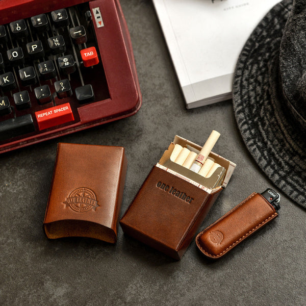 Handmade Brown Leather Mens 20pcs Cigarette Case Cool Custom Cigarette Case for Men