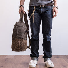 Canvas Leather Mens Cool Chest Bag Sling Bag Crossbody Bag Travel Bag Hiking Bag for men