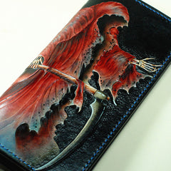 Handmade Leather The Death Tooled Mens Long Wallet Cool Leather Wallet Clutch Wallet for Men