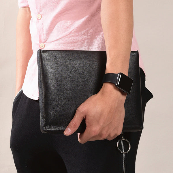 Handmade Genuine Leather Clutch Zip Long Wallet Purse Bag For Mens