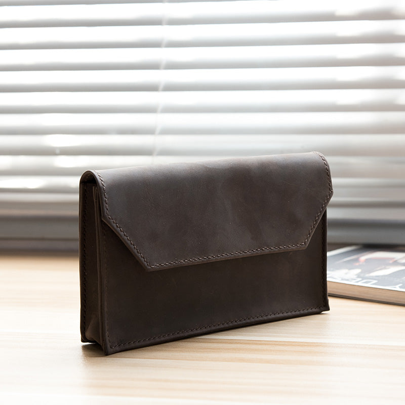 Handmade Leather Mens Clutch Cool Large Wallet Clutch Wristlet Wallet for Men